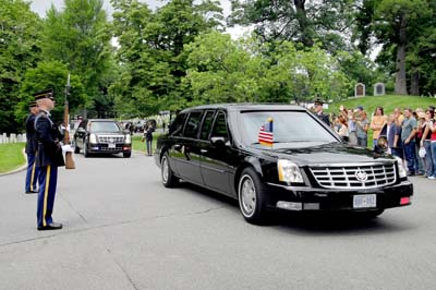 The Honor Guard and cheering crowds lined the route of Obama's motorcade.