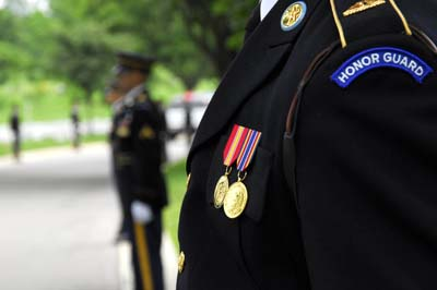 Honor Guard members lined the streets of Arlington National Cemetery on Memorial Day.